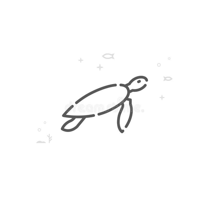 Linha ícone do vetor da tartaruga de mar, símbolo, pictograma, sinal Fundo geométrico abstrato claro Curso editável ilustração royalty free