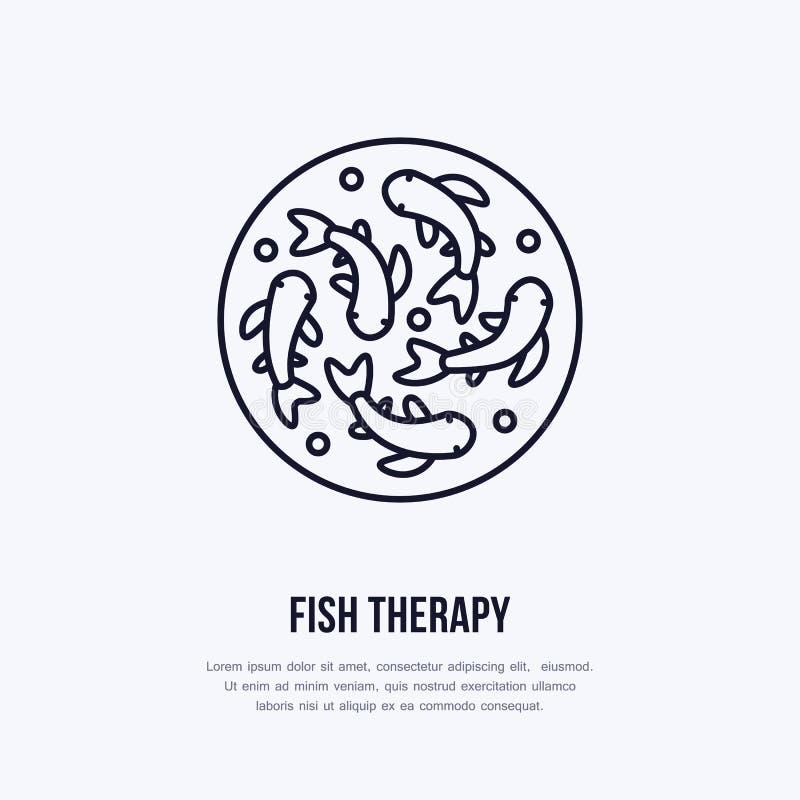 Linha ícone do vetor da terapia dos peixes Logotipo do plano de serviço da casca dos termas Tratamento natural da pele ilustração do vetor