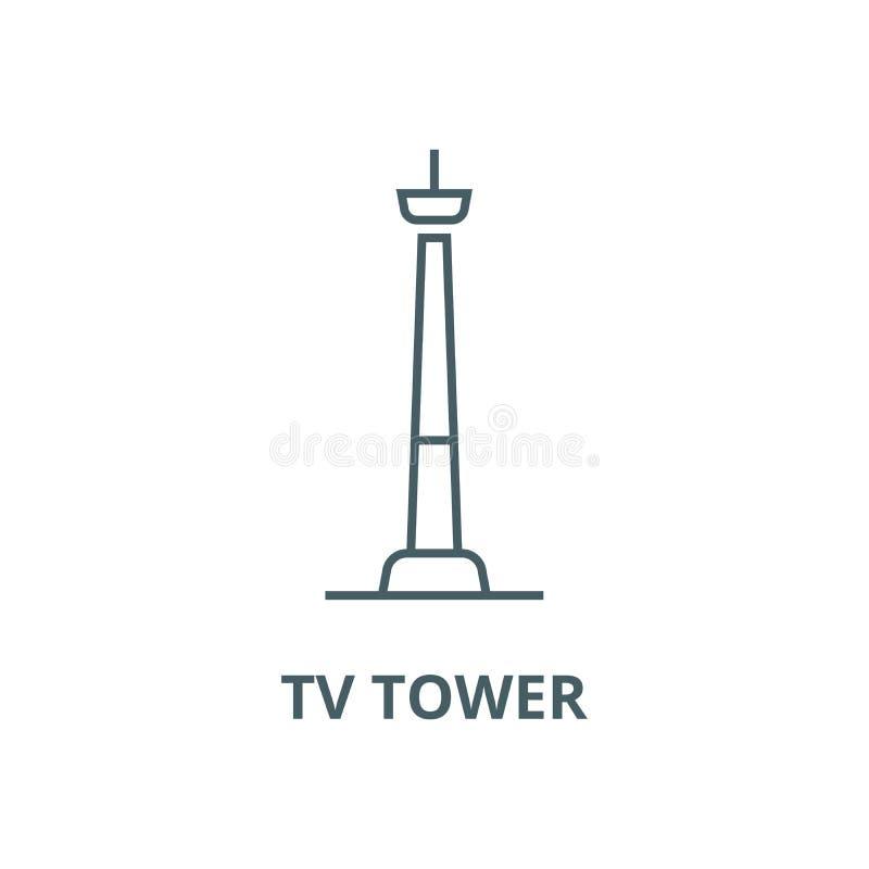 Linha ícone do vetor da torre da tevê, conceito linear, sinal do esboço, símbolo ilustração do vetor