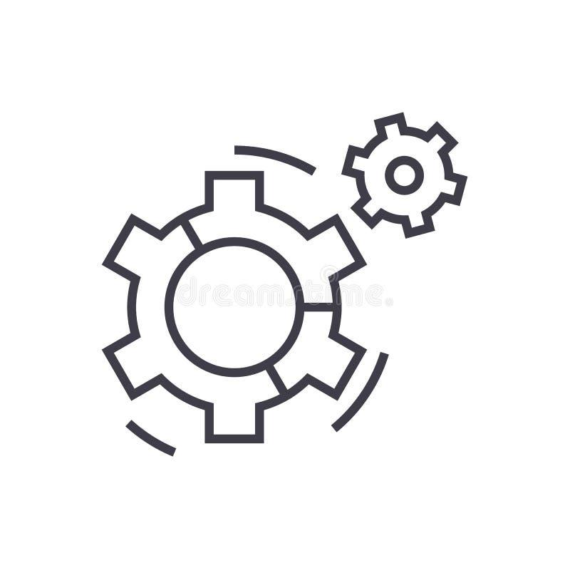 Linha ícone do vetor da torta do gráfico dos ajustes, sinal, ilustração no fundo, cursos editáveis ilustração stock