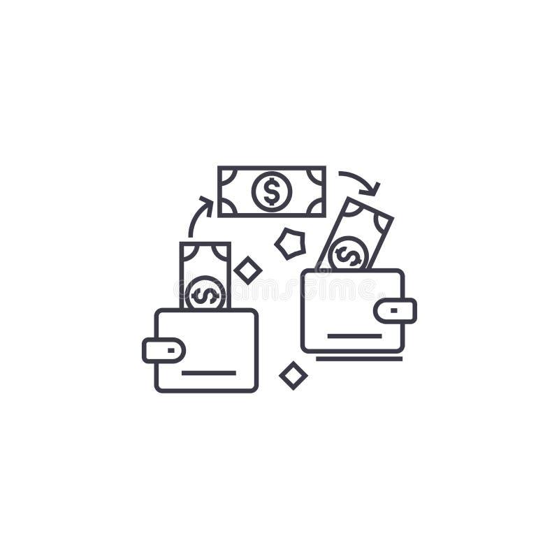 Linha ícone do vetor da transação do pagamento, sinal, ilustração no fundo, cursos editáveis ilustração royalty free