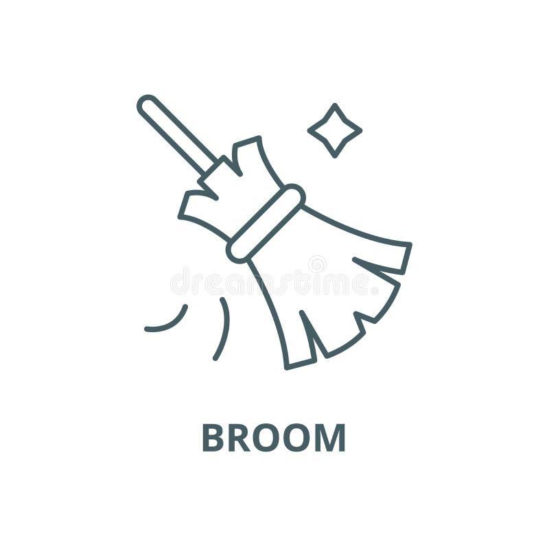 Linha ícone do vetor da vassoura, conceito linear, sinal do esboço, símbolo ilustração do vetor