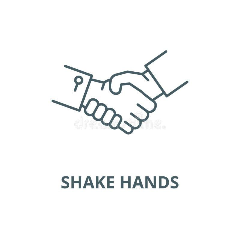 Linha ícone do vetor das mãos da agitação, conceito linear, sinal do esboço, símbolo ilustração royalty free