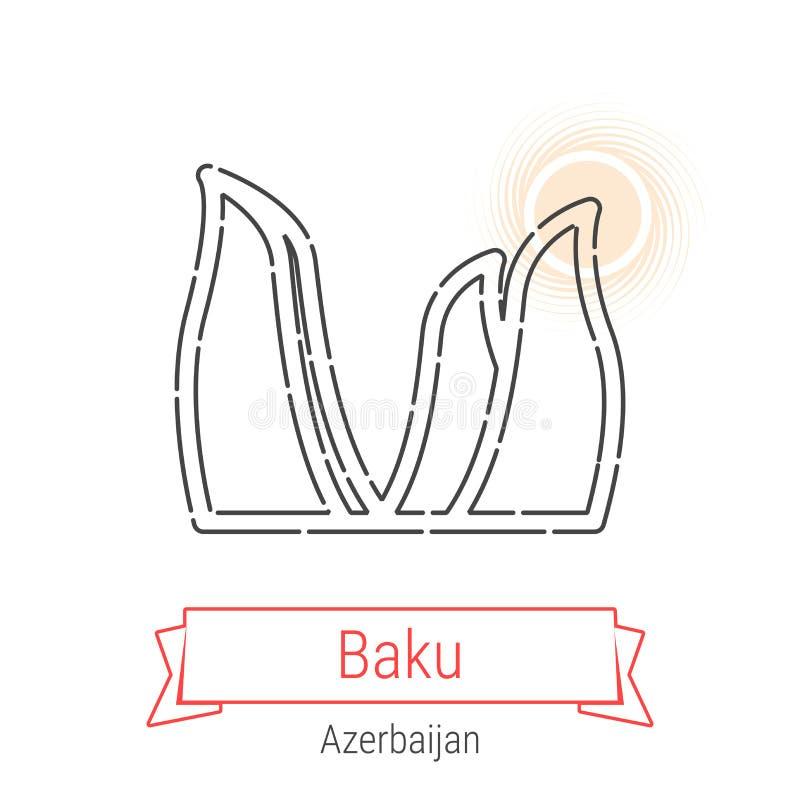 Linha ícone do vetor de Baku, Azerbaijão ilustração stock