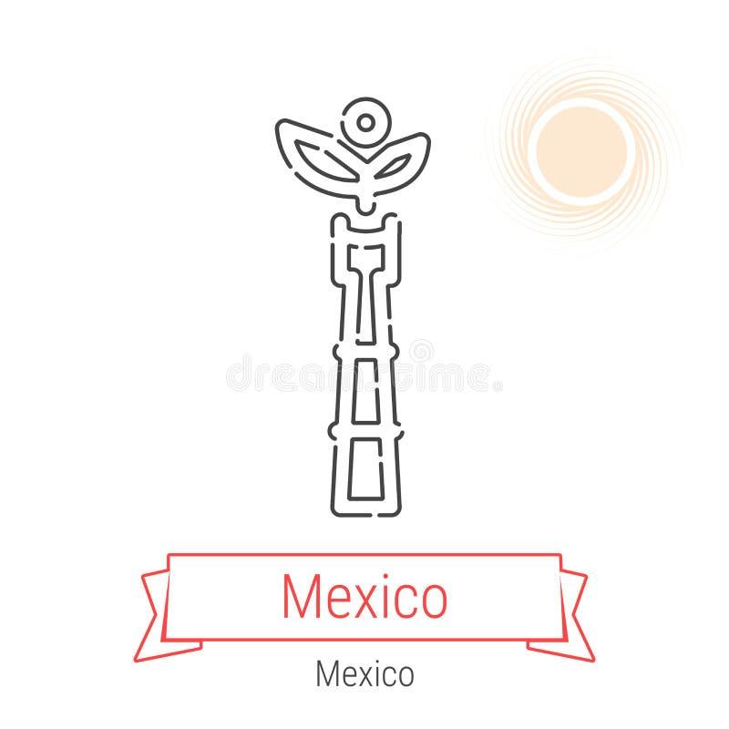 Linha ícone do vetor de Cidade do México, México ilustração stock