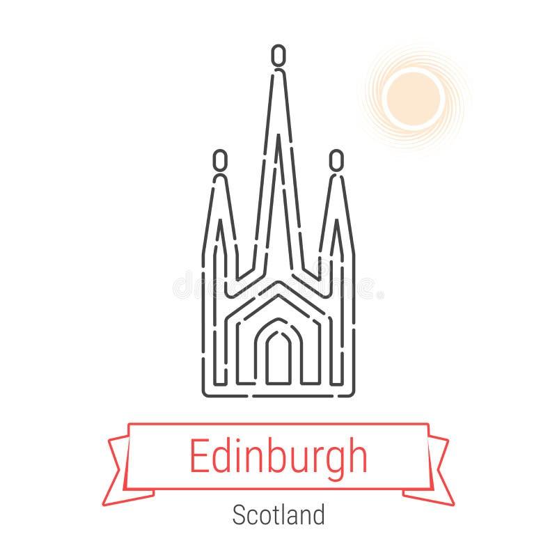 Linha ícone do vetor de Edimburgo, Escócia ilustração royalty free