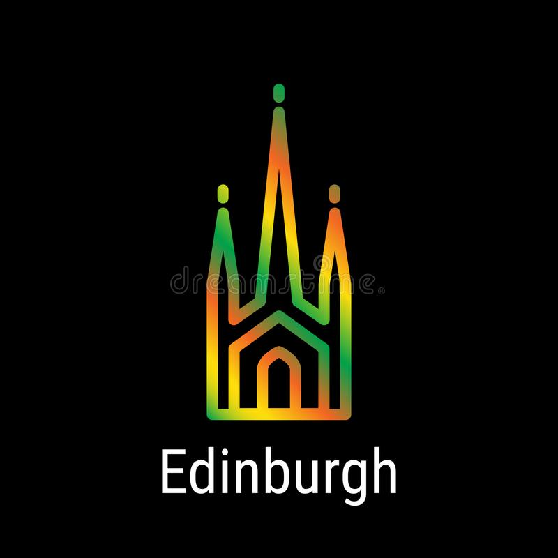 Linha ícone do vetor de Edimburgo, Escócia ilustração do vetor