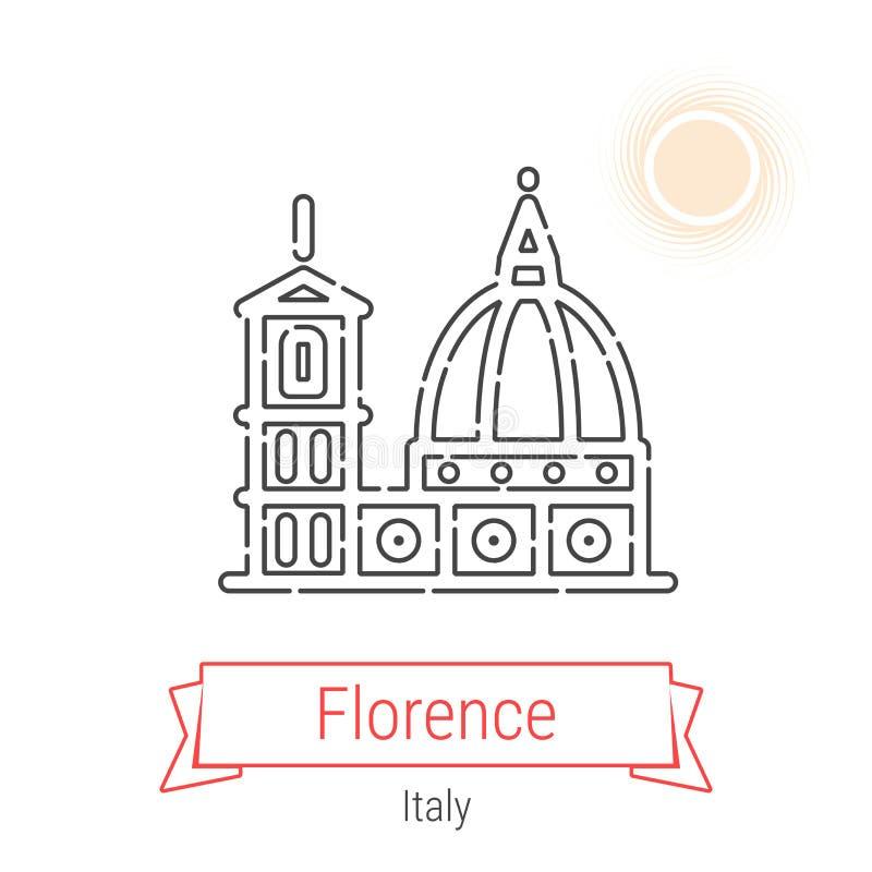 Linha ícone do vetor de Florença, Itália ilustração stock