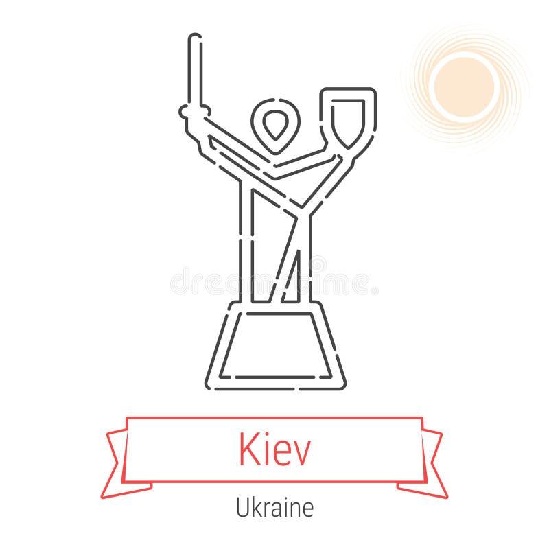 Linha ícone do vetor de Kiev, Ucrânia ilustração royalty free