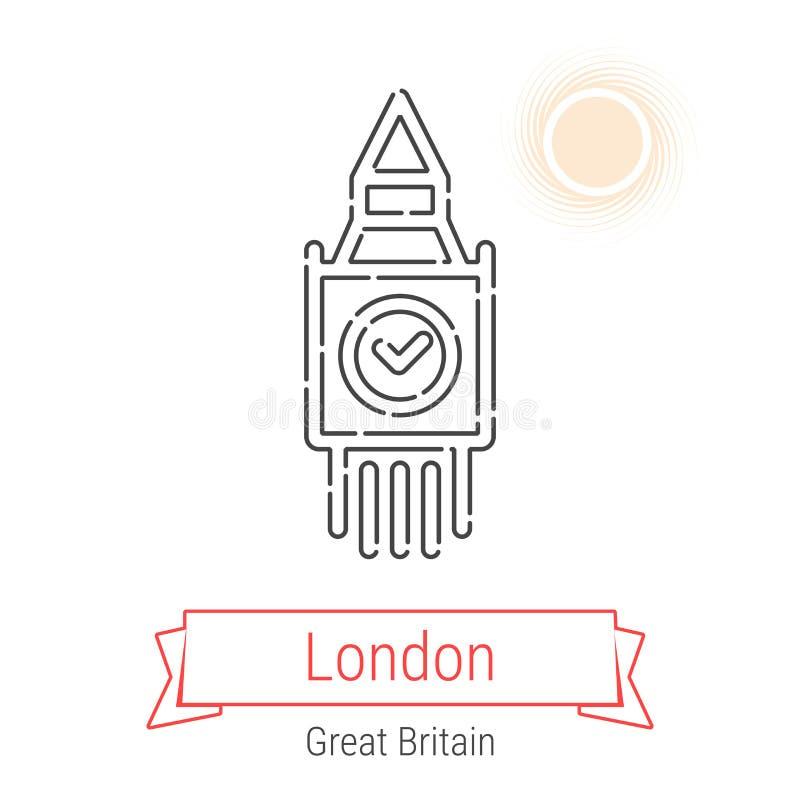 Linha ícone do vetor de Londres, Grâ Bretanha ilustração stock
