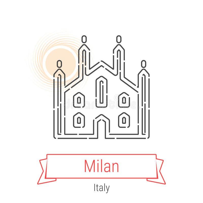 Linha ícone do vetor de Milão, Itália ilustração royalty free