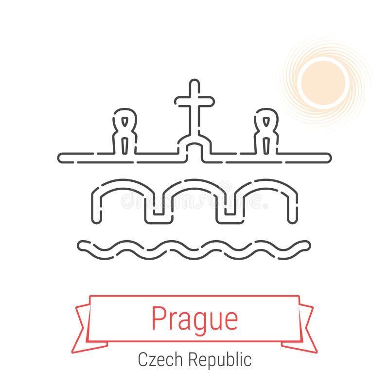 Linha ícone do vetor de Praga, República Checa ilustração stock