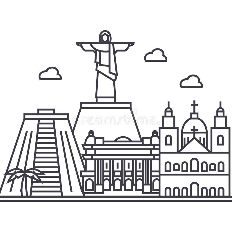 Linha ícone do vetor de Rio de janeiro, Brasil, sinal, ilustração no fundo, cursos editáveis ilustração do vetor