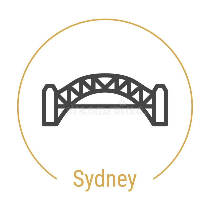 Linha ícone do vetor de Sydney, Austrália ilustração stock