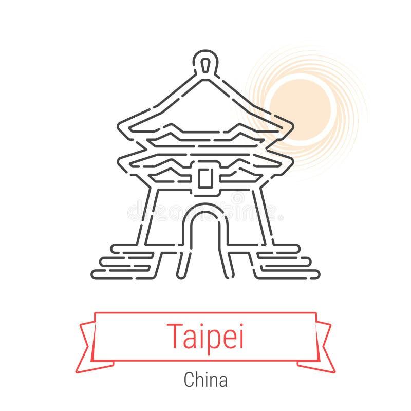 Linha ícone do vetor de Taipei, Taiwan, China ilustração royalty free