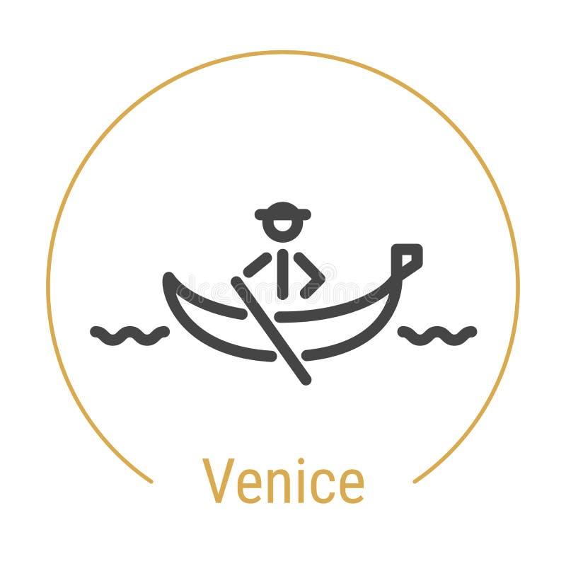 Linha ícone do vetor de Veneza, Itália ilustração royalty free