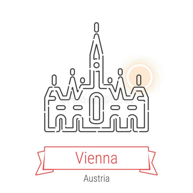 Linha ícone do vetor de Viena, Áustria ilustração do vetor
