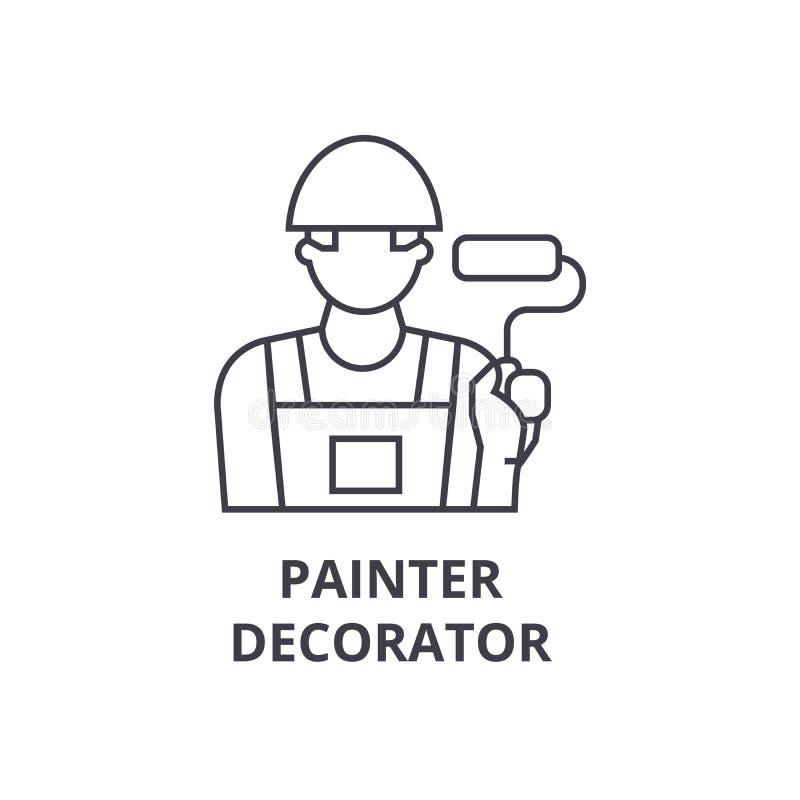 Linha ícone do vetor do decorador do pintor, sinal, ilustração no fundo, cursos editáveis ilustração do vetor