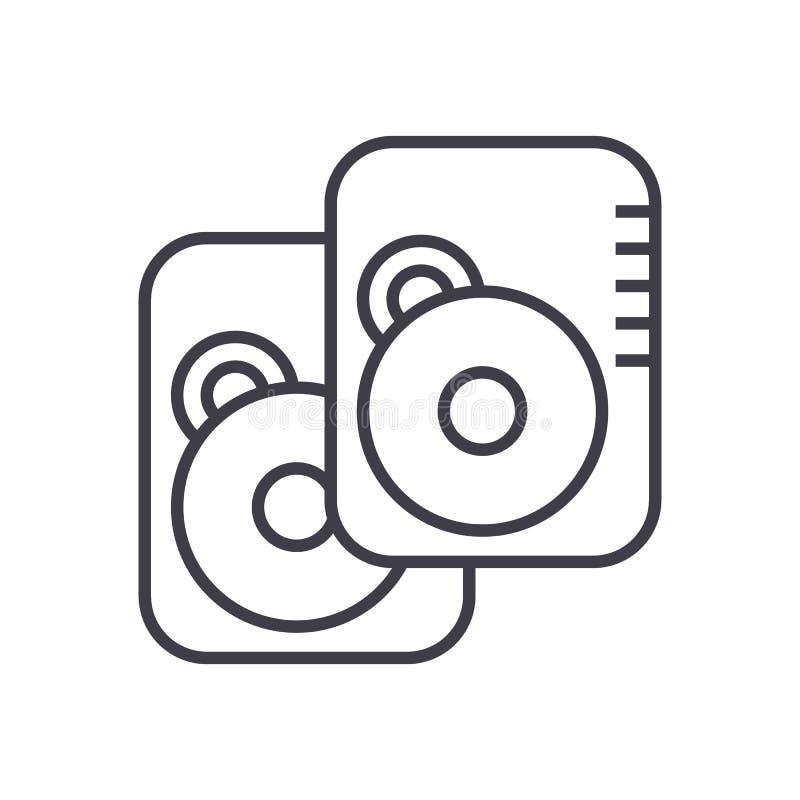 Linha ícone do vetor do disco rígido, sinal, ilustração no fundo, cursos editáveis ilustração stock