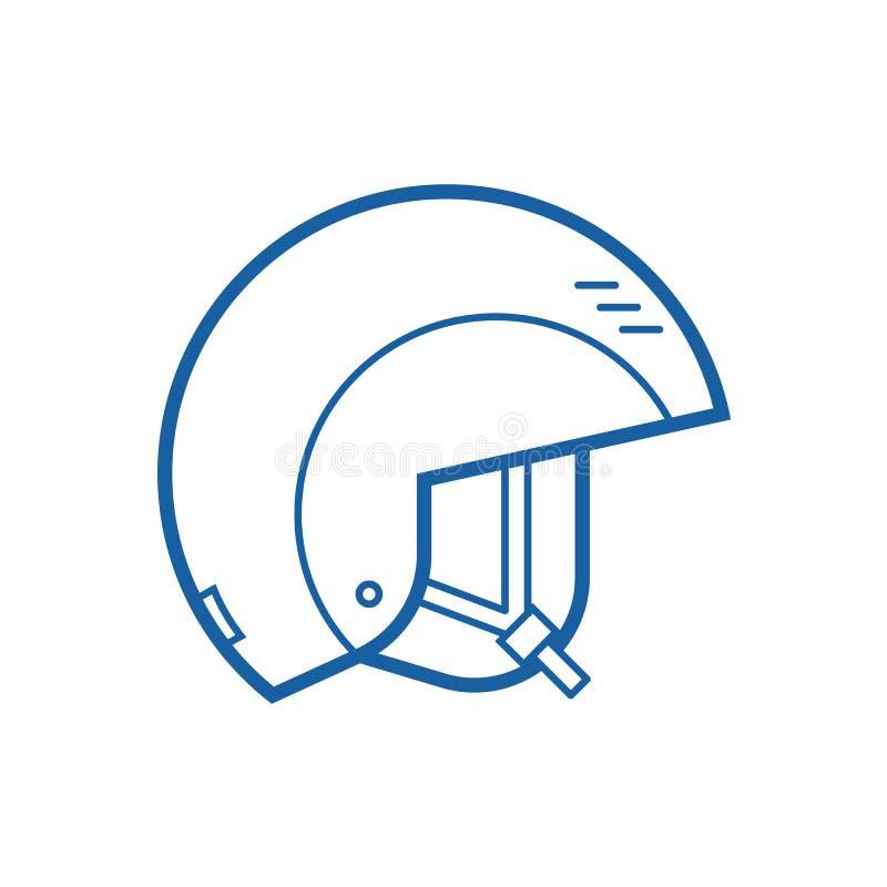 Linha ícone do vetor do capacete da snowboarding ilustração stock