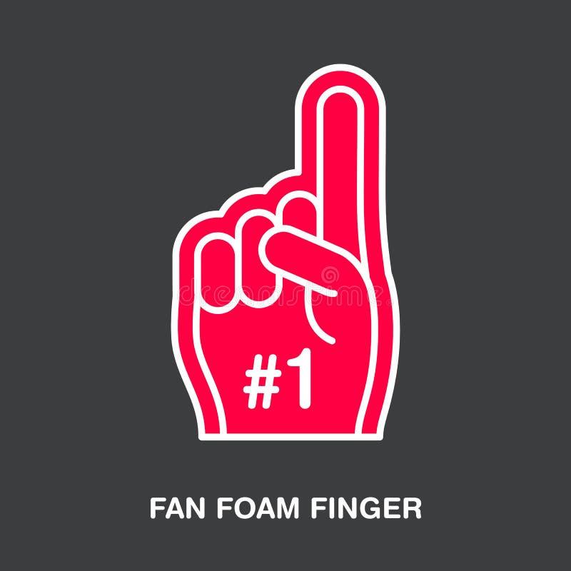 Linha ícone do vetor do dedo da espuma do fã Sinal de apoio do esporte Ilustração Cheerleading ilustração do vetor