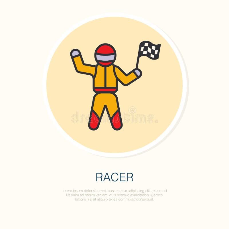 Linha ícone do vetor do piloto do carro Vencedor do campeonato da velocidade auto com bandeiras dos verificadores ilustração do vetor