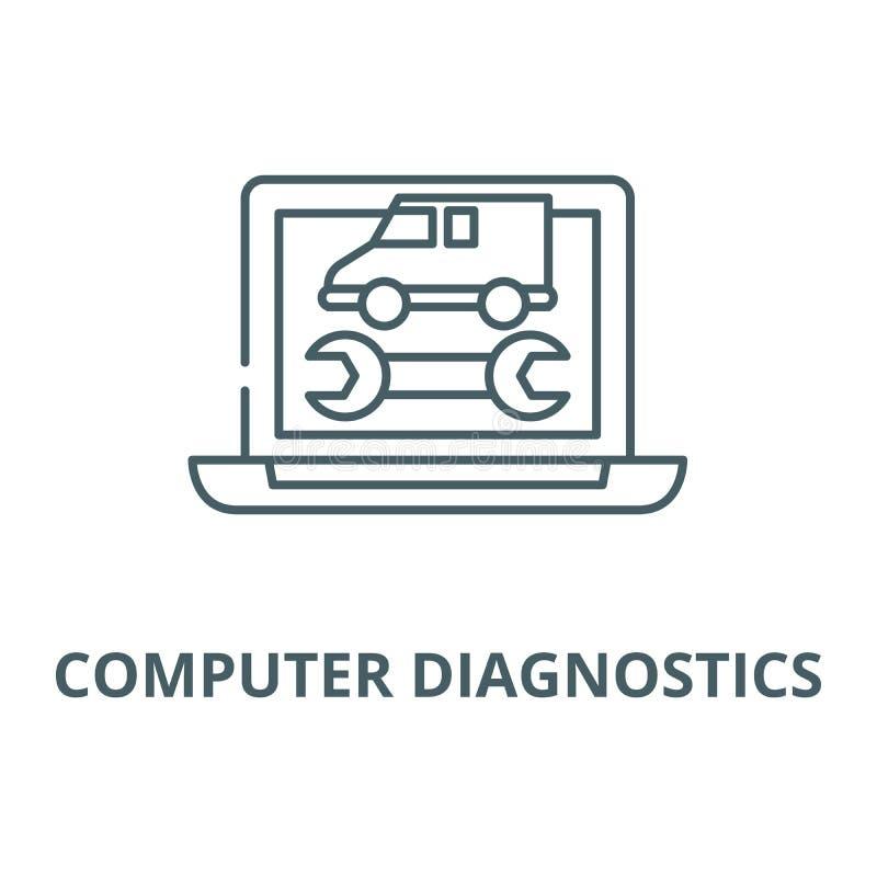 Linha ícone do vetor dos diagnósticos do computador, conceito linear, sinal do esboço, símbolo ilustração stock