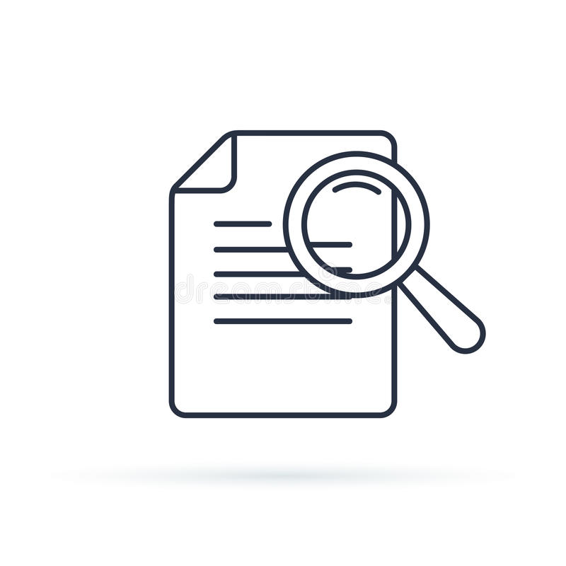 Linha ícone do vetor dos estudos de caso Elemento de Infographic sobre o desenvolvimento da Web Linha fina lisa pictograma do íco ilustração stock