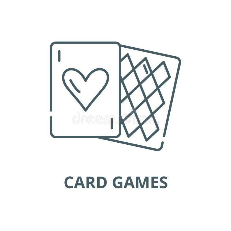 Linha ícone do vetor dos jogos de cartas, conceito linear, sinal do esboço, símbolo ilustração stock