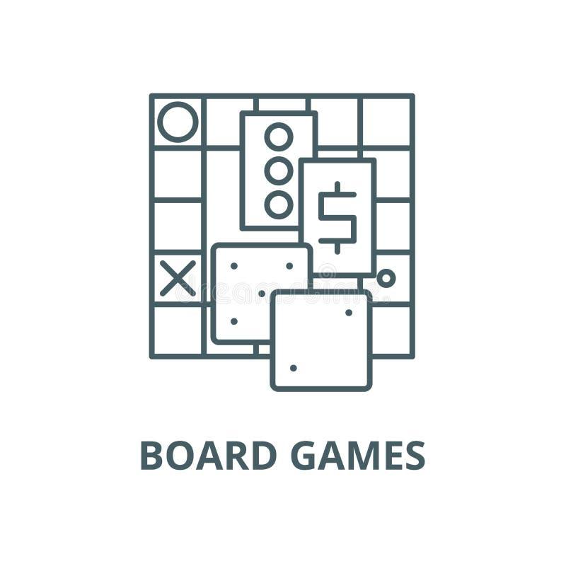 Linha ícone do vetor dos jogos de mesa, conceito linear, sinal do esboço, símbolo ilustração royalty free