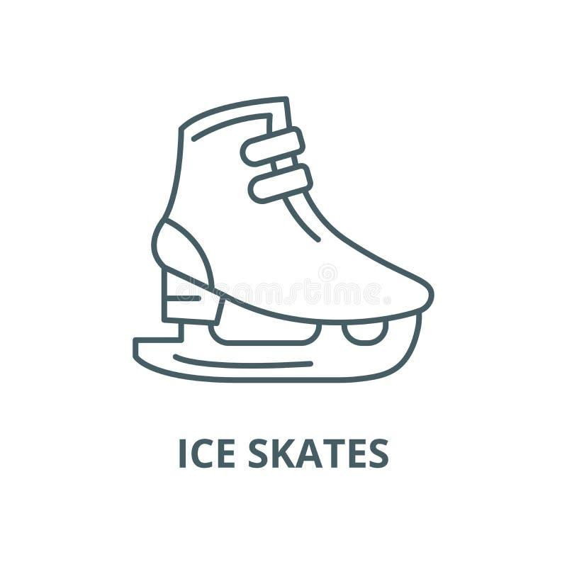 Linha ícone do vetor dos patins de gelo, conceito linear, sinal do esboço, símbolo ilustração do vetor