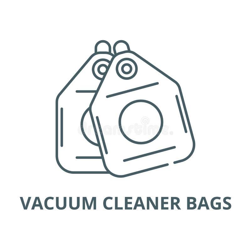 Linha ícone do vetor dos sacos de aspirador de p30, conceito linear, sinal do esboço, símbolo ilustração do vetor