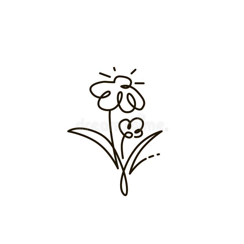 Linha ícone do vetor Duas flores Jardinagem Um a lápis desenho Isolado no fundo branco ilustração stock