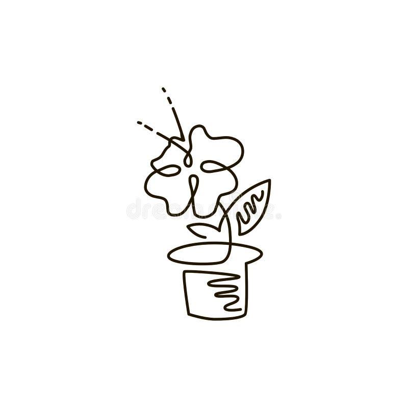 Linha ícone do vetor Flor em um potenciômetro Jardinagem Um a lápis desenho Isolado no fundo branco ilustração do vetor