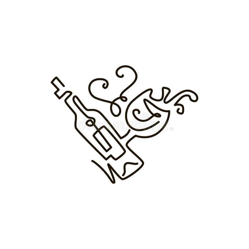 Linha ícone do vetor Garrafa do vinho com copo de vinho Um a lápis desenho Isolado no fundo branco ilustração royalty free