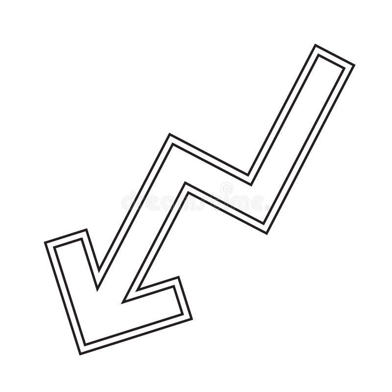 Linha ícone do vetor do gráfico da diminuição ilustração stock