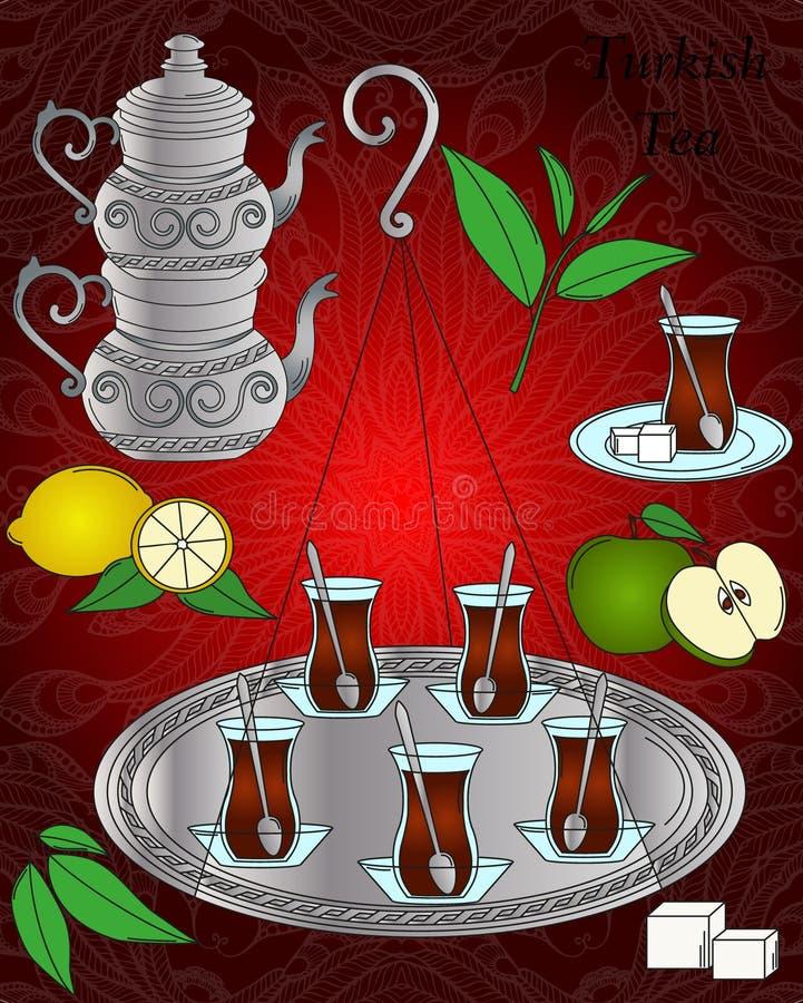 Linha ícone do vetor Grupo de chá turco ilustração stock