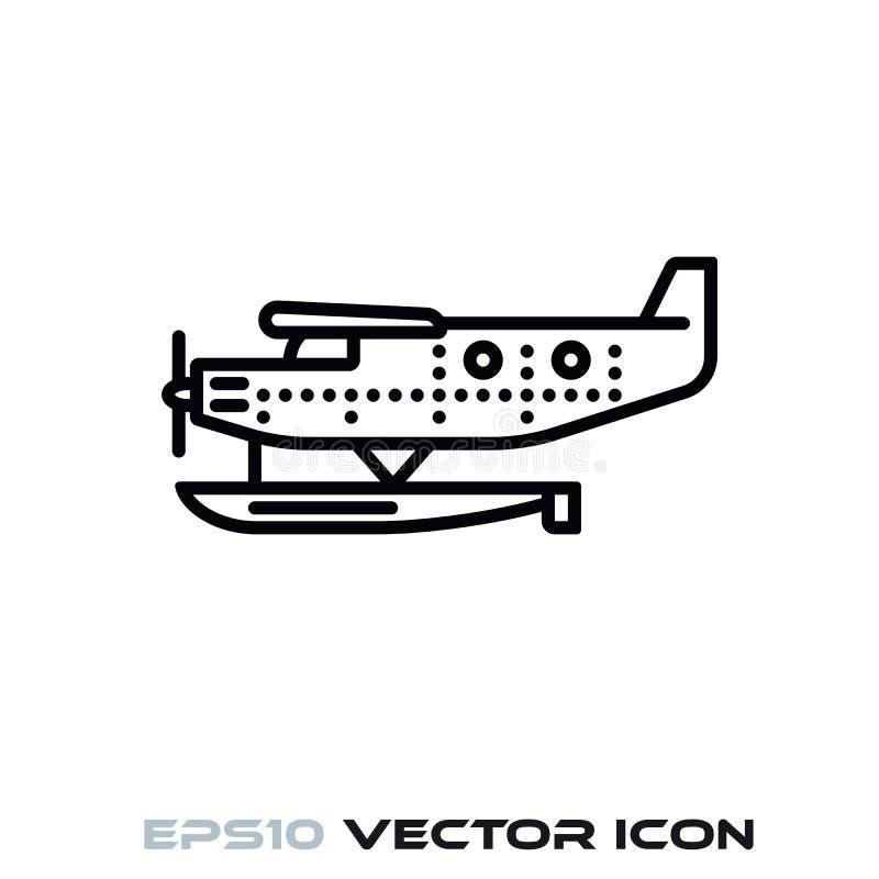 Linha ícone do vetor do hidroavião do vintage ilustração do vetor
