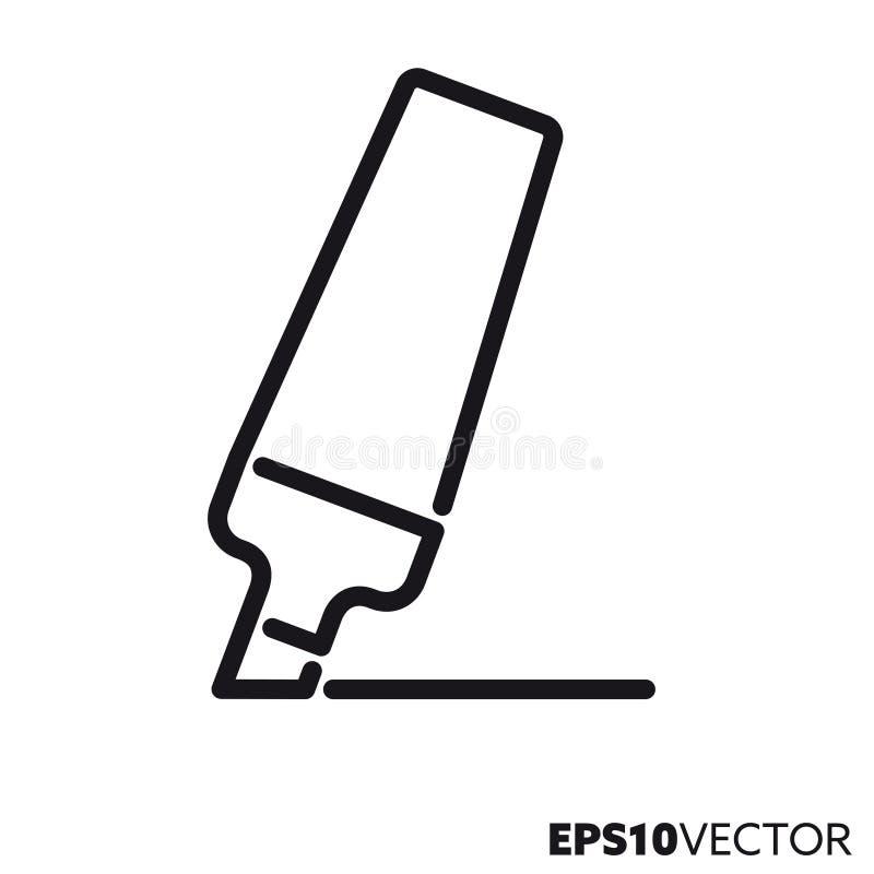 Linha ícone do vetor do highlighter ilustração stock