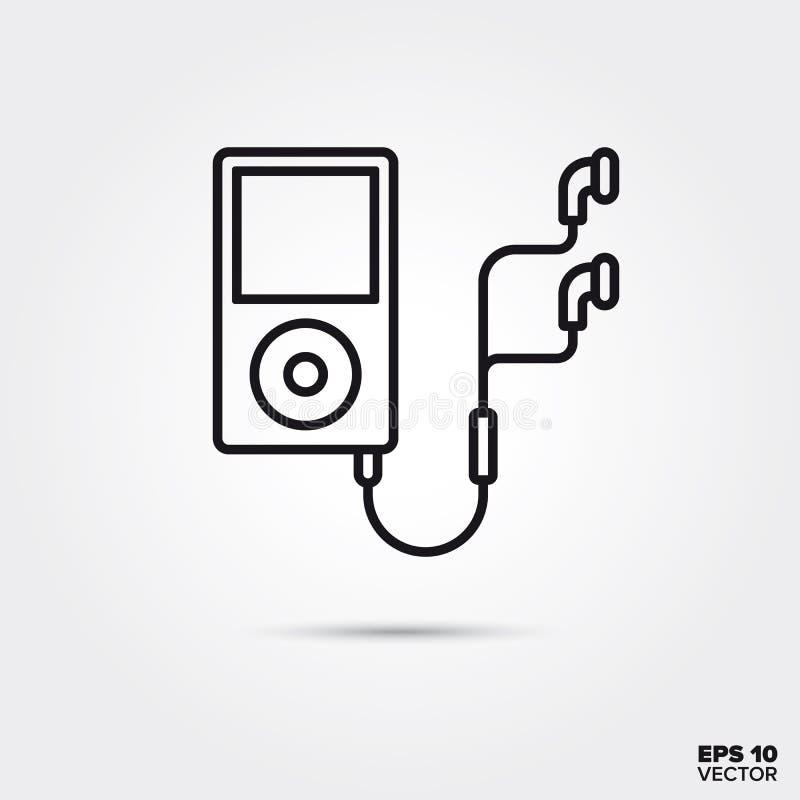 Linha ícone do vetor do jogador de música portátil ilustração stock