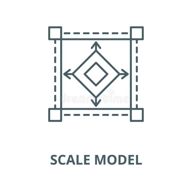 Linha ícone do vetor do modelo à escala, conceito linear, sinal do esboço, símbolo ilustração do vetor