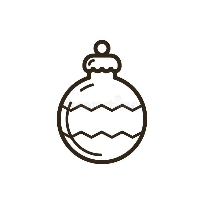 Linha ícone do vetor do ornamento do Natal da arte ilustração royalty free