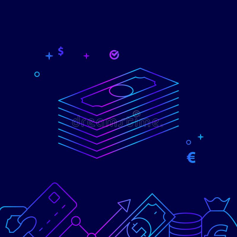 Linha ícone do vetor do pacote do dinheiro, ilustração em um escuro - fundo azul Beira inferior relacionada ilustração stock