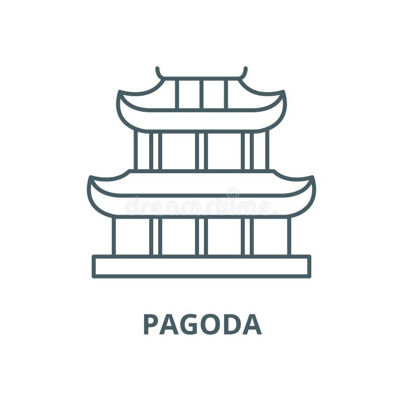 Linha ícone do vetor do pagode, conceito linear, sinal do esboço, símbolo ilustração stock