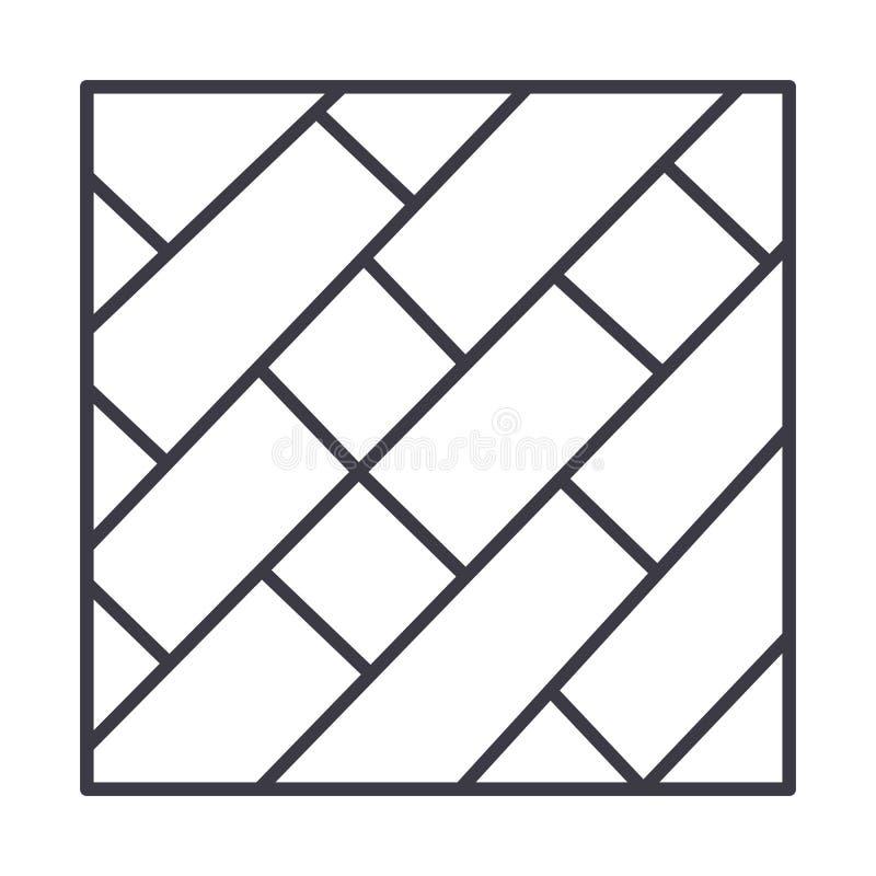 Linha ícone do vetor do parquet, sinal, ilustração no fundo, cursos editáveis ilustração royalty free