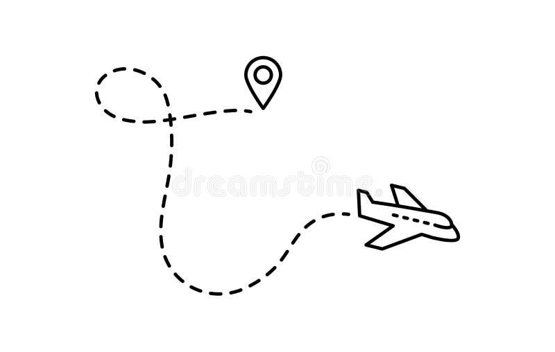 Linha ícone do vetor plano Símbolo para o mapa, avião da etiqueta Curso editável ilustração do vetor