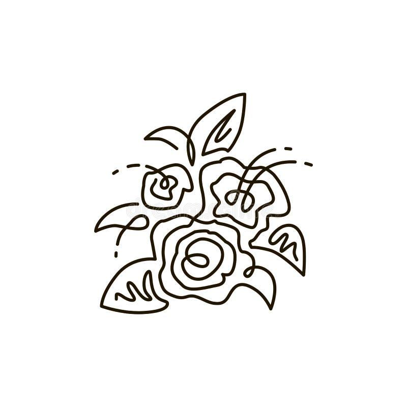 Linha ícone do vetor Ramalhete das flores Vista superior Um a lápis desenho Isolado no fundo branco ilustração do vetor