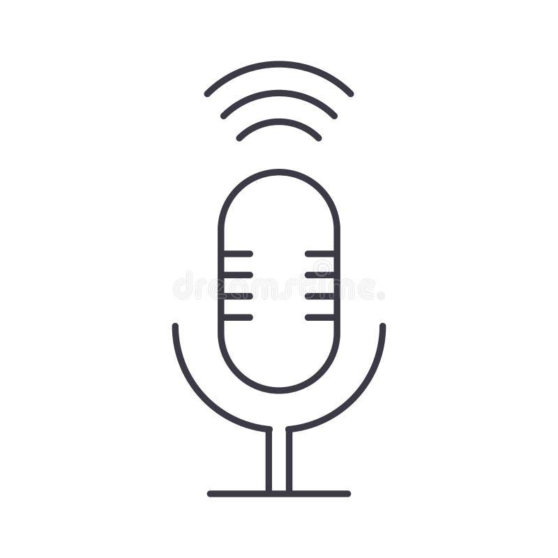 Linha ícone do vetor do sinal do microfone, sinal, ilustração no fundo, cursos editáveis ilustração royalty free