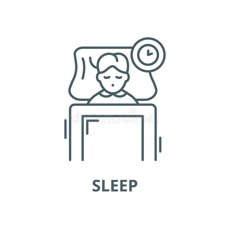 Linha ícone do vetor do sono, conceito linear, sinal do esboço, símbolo ilustração do vetor