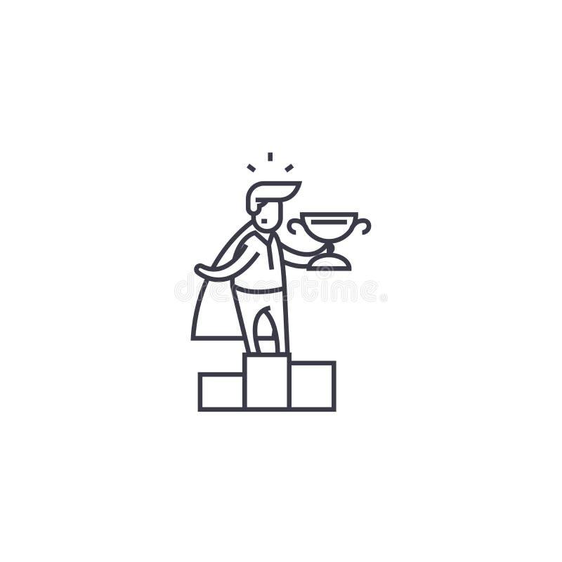 Linha ícone do vetor do vencedor do líder de negócio, sinal, ilustração no fundo, cursos editáveis ilustração royalty free